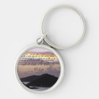Psalm 91:1 Silver-Colored round keychain