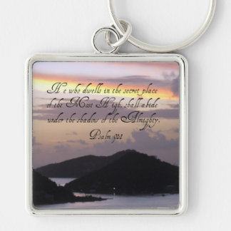 Psalm 91:1 Silver-Colored square keychain