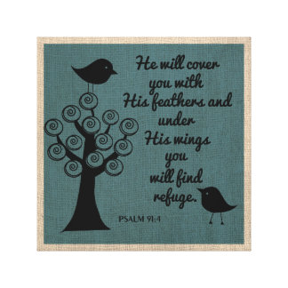 Psalm 91:4  Weapped Canvas