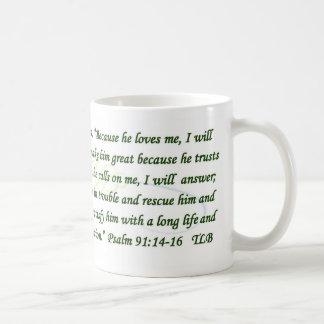 Psalm 91 Because He Loves Me Blue Green Mug