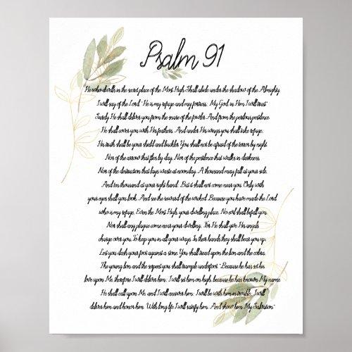 Psalm 91 Bible Art Soft Green Leaves Christian Poster
