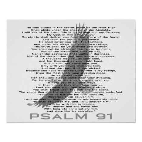 Psalm 91 Black and White Soaring Eagle Christian Poster