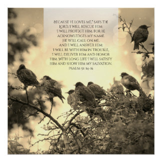 Psalm 91, Christian poster with birds on the tree