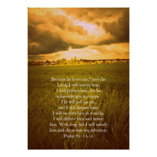 Psalm 91, Christian poster with dramatic fields