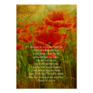 Psalm 91, Christian poster with grunge red poppies