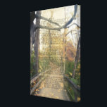 """Psalm 91 Forest Photo Christian Bible Verse Wall Canvas Print<br><div class=""""desc"""">Scene of a landscape image of an autumn fall forest with wood pathway. Wooded trail with a Bible passage in NKJV from Psalm 91, which is a prayer of protection and peace during times of turmoil. Inspirational motivational comfort for conquering fear... Psalm 91 He who dwells in the secret place...</div>"""