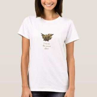 Psalm 91 Quote, Gold Angel Theme, White T-Shirt