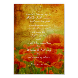 Psalm 91 red poppies poster