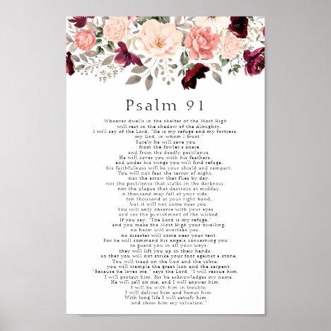 Psalm 91 Scripture Burgundy Blush Floral Poster