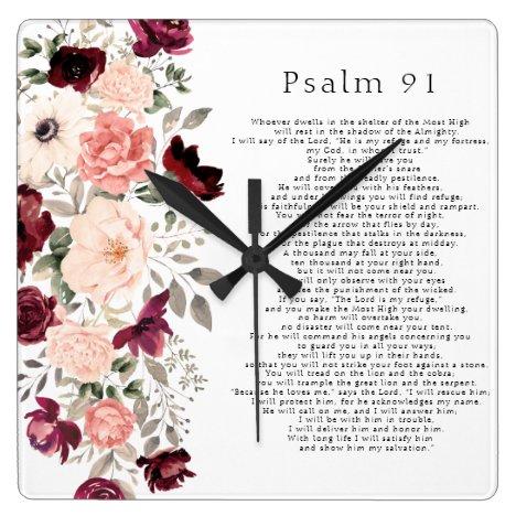 Psalm 91 Scripture Burgundy Blush Floral Square Wall Clock