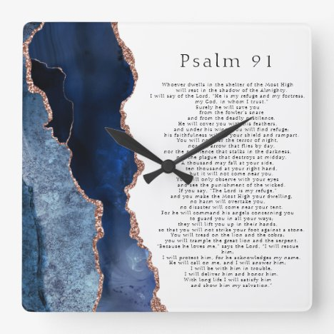 Psalm 91 Scripture Navy Blue Rose Gold Geode Square Wall Clock