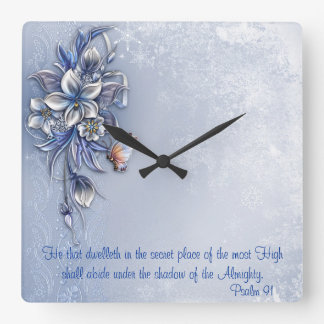 Psalm 91@  Square Square Wall Clocks