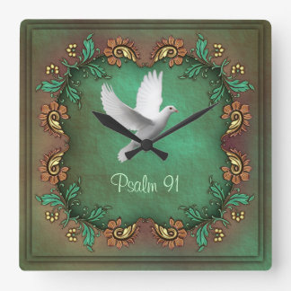 Psalm 91  Square Square Wall Clock
