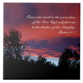 Psalm 91 Those who dwell in the secret place, Ceramic Tile