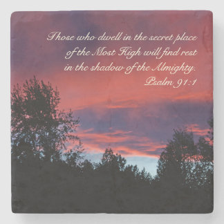 Psalm 91 Those who dwell in the secret place, Stone Coaster