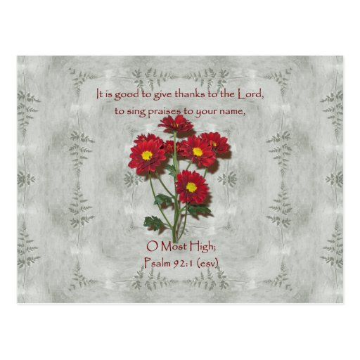 Psalm 92:1 ~ Give Thanks to the Lord Postcard