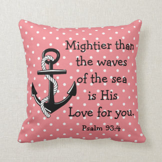 Psalm 93 Mightier than the sea, black anchor/rose Throw Pillow