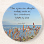 Psalm 94:19 When my anxious thoughts... Beverage Coasters