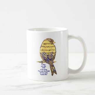 Psalm 96:1 Sing the Lord Psalm Song Bird Music Art Coffee Mug