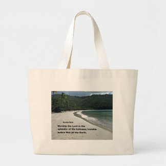 Psalm 96:9 Worship the Lord in the splendor... Large Tote Bag