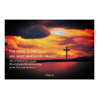 Psalm 96, Red sky and the cross, Christian poster