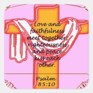 Psalm cross design square sticker
