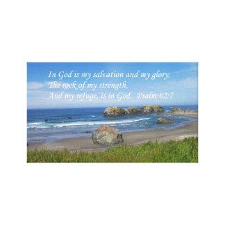 Psalm Rock of my Strength Ocean Canvas
