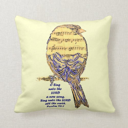 Psalm Scripture Inspirational Quote Bird Song Throw Pillow