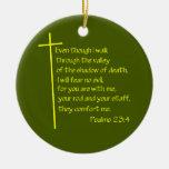 Psalms23-4 Yellow Christmas Ornaments