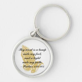 Psalms 119:105 Keychain Silver-Colored Round Keychain