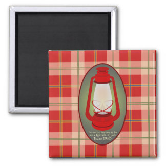 Psalms 119:105 Red Plaid Bible Verse Magnet