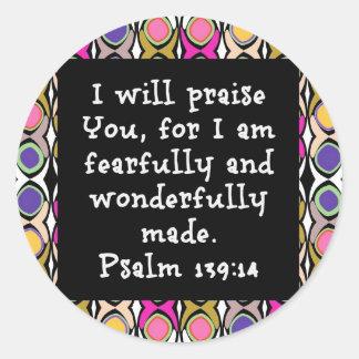 Psalms 139:14 classic round sticker