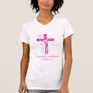 Psalms 139:14 flower cross t shirts