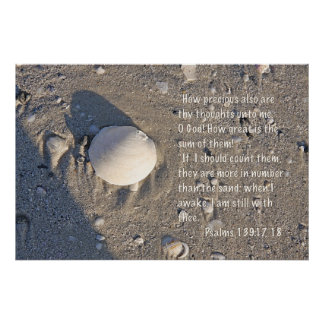 Psalms 139: 17-18 Print, Shell Version Poster