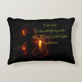 Psalms 18:28 Lit candle and copper teapots Decorative Pillow