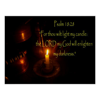 Psalms 18:28 Lit candle and copper teapots Poster