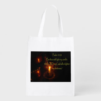 Psalms 18:28 lit candle and copper teapots grocery bags