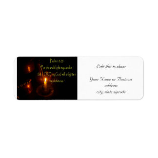 Psalms 18:28 over Lit candle and copper teapots Label