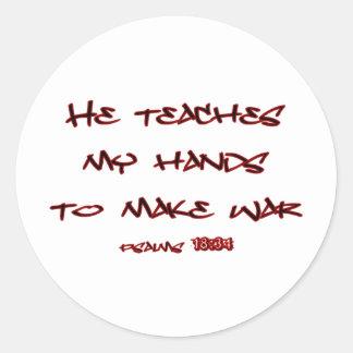 Psalms 18:34 classic round sticker