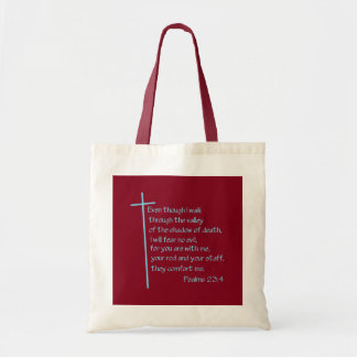 Psalms 23:4 Turquoise Tote Bags