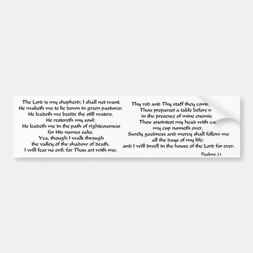 Psalms 23 car bumper sticker