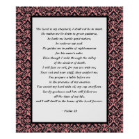 Psalms 23 Pink & Black Damask Poster