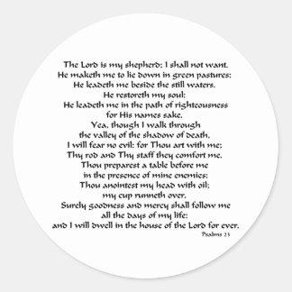 Psalms 23 round stickers