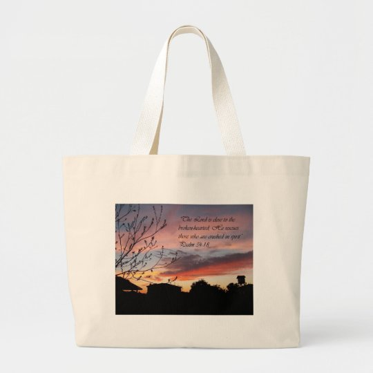 Psalms 24:18 large tote bag