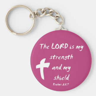 Psalms 28: The Lord is My Strength and Shield Basic Round Button Keychain