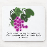 Psalms 37:107. purple grapes and green leaves mousepad