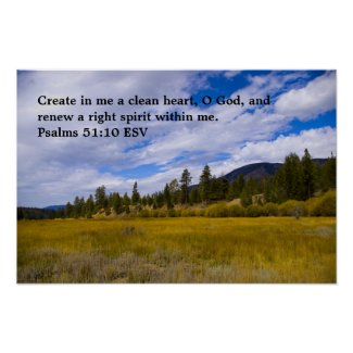 Psalms 51:10 poster print