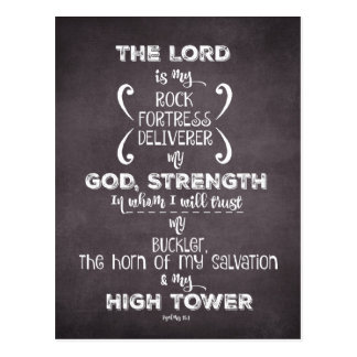 Psalms Bible Verse: Rock and High Tower Postcard