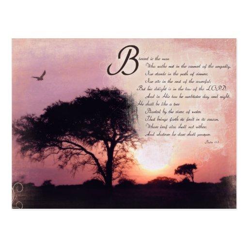 Psalms Encouragement Inspirational Bible Verse Postcard