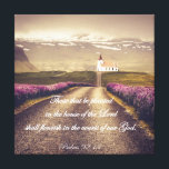 """Psalms: Planted in the House of the Lord Verse Canvas Print<br><div class=""""desc"""">Psalms: Planted in the House of the Lord Verse canvas prints. Scenic country landscape with church in the background, lavender fields along the road, featuring typography scripture from Psalms. &quot;Those that be planted in the house of the Lord shall flourish in the courts of our God&quot;. Find more bible verse...</div>"""